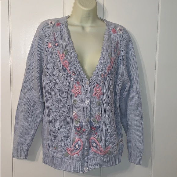 Vintage Sweaters - Vtg 80s/90s light blue floral embroidered cardigan